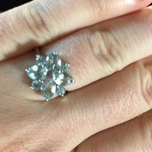 Jewelry - Silver and aquamarine flower ring. Size 7